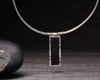 Black Basalt Panel Necklace