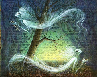 Gothic fantasy painting, Eldritch: Ghostly creatures haunt an enchanted forest. Magical spirits, letter E, macabre, dark art, gothic decor