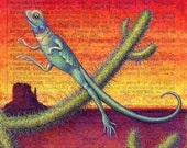 Desert print, Xeric: A blue lizard leaps over cacti against a desert sunset. Colorful southwestern decor, cactus art, nature lover gift