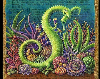 Botanical art print, Succulent: A green monster camouflaged as an aloe plant enjoys a juicy snack in a succulent garden. Letter S, fantasy