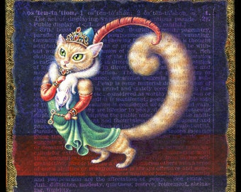 Funny cat art print, Ostentatious:  An overdressed kitty (complete with squirrel fur, tiara & opera glasses) struts the red carpet. Letter O