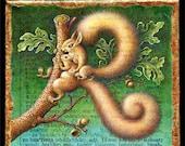 Whimsical animal art print, Robustious: parent & baby squirrels, acorns. Nature art, animal lover, squirrel decor, cute animal art, wildlife