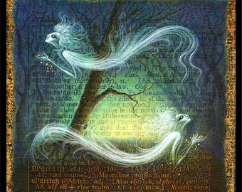 Fantasy art print, Eldritch: Ghostly creatures haunt an enchanted forest. Magical spirits, letter E, macabre, dark art, gothic home decor