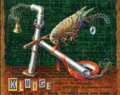Funny painting, Kludge. A Kea parrot creates an odd device. Alphabet letter K, engineer humor, programmer art, computer geek gift, plumber