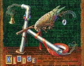 Funny art print, Kludge. A Kea parrot creates an odd device. Alphabet letter K, engineer humor, programmer art, computer geek gift, pipe
