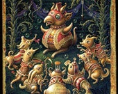 Creepy cute art print, Odd Fellowship: A mysterious gathering of creatures. Pop surrealism, masonic oddities, circus arts, fantasy wall art