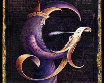 Fantasy magic art print, Gramarye:  A wizard holds a scroll with mysterious magic words. Alphabet letter G, Magick, magician, magic spell