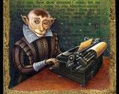 Year of the Monkey art print, Infinite Monkey: Shakespearean monkey with typewriter,Chinese New Year, writer gift, funny monkey painting