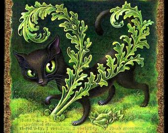 Black cat art print,  Viridity: Green eyed cat, moss garden, frog & beetle. Cat lover gift, gardener gift, zen garden, botanical, cat eyes