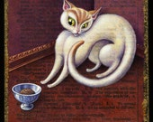 Whimsical cat painting, Disprize: Original acrylic art of spoiled, pampered. grumpy cat, food bowl. White cat lover gift, Alphabet letter D,