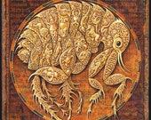 Steampunk insect art print, enlargement of Microcosmos: Flea Circus- Flea with miniature circus, Oddity curiosity, Fantasy science art,