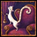 Cat art print, Velutinous: Elegant white cat on red chair with velvet curtains & gold tassel. Letter V, Victorian wall decor, cat lover gift