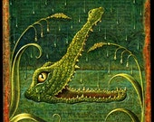 Crocodile art print, Lachrymal, Crocodile tears, Fantasy animal art, botanical details & optometry, Green water, Letter L, Jungle animal