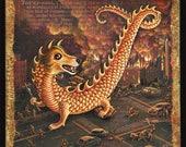Year of the dog art print: mini-Sheltie dragon attacks city. Shetland sheepdog sheltie art, funny dog fantasy painting, Chinese New Year