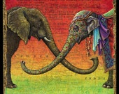 Elephant decor, Xenophile: Indian and African elephants joining to form the letter X. World travel art, elephant art print, world map