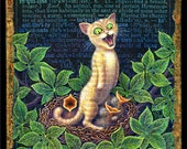 Funny cat painting 6x6, Inquiline: A naughty kitten in a bird's nest. Hungry cat lover gift, alphabet letter I, science nerd, host gift.