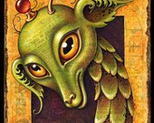 Weird creature art print, Goodly Head: Head of a mad scientist's robot dragon monster- Signed giclée- Fantasy science- Steampunk oddity