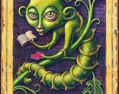 Bookworm art print 8x16, Voracious: Fantasy book worm, Back to school art, Librarian, book lover gift, Classroom décor, Teacher appreciation
