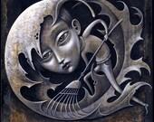 Winter blues art print, Fallen: Sad person raking Autumn leaves. Melancholy shades of gray. Seasonal Affective Disorder, Depression art