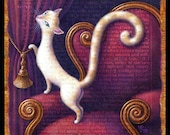 Cozy cat painting, Velutinous: Elegant white cat on antique chair with wine velvet curtains. Letter V, Maximalist decor, catlover gift