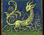 Fantasy garden print, The Motion of Plants. A strangely cute green creature romps amid curly vines & tendrils. Oddity gift for gardener