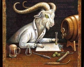 Beer geek art print 6x6, Zymology: Goat scientist analyzing home brew. Beer lover gift, man cave art, alphabet letter Z, funny bar décor