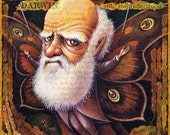 Evolution art print, Specimen: Darwin, Charles Darwin with butterfly wings, Fantasy science geek gift , Oddity Curiosity Curious Art