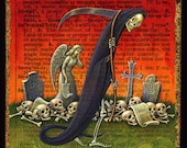Death & Taxes surreal painting, Ineluctable: Grim Reaper, Halloween Skeleton art, Gothic art, Cemetery Angel, Letter I, Tax accountant gift