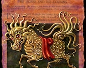 Year of the Horse art print 8x8, Longma: Chinese New Year fantasy painting, golden dragon horse, Asian myth, magic horse mythical creature
