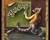 Graffiti painting, Yobbery:  raccoon artist with spray paint. Graffiti art, hand lettering, funny animal art, street art, urban decor