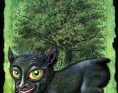 Halloween dog monster art print, Penghou: Chinese tree spirit, Japanese dog creature Hōkō yokai, Oddity curiosity, Chinese Year of the Dog