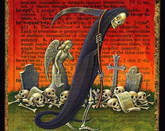 Death and taxes Grim Reaper print, Ineluctable: Macabre cemetery art, Alphabet Letter I, Gothic wall art, Funny skeleton tax accountant gift