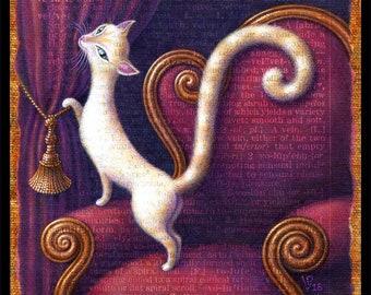 Cozy cat art print, Velutinous: Elegant white cat on red chair with wine velvet curtains. Letter V, Victorian wall decor, cat lover gift