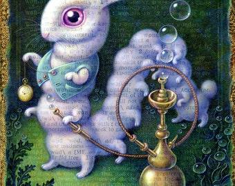 White Rabbit painting, Surreal Wonderland Rabbit/ Hookah-smoking Caterpillar, Alice in Wonderland wall art, trippy fantasy painting, Oddity