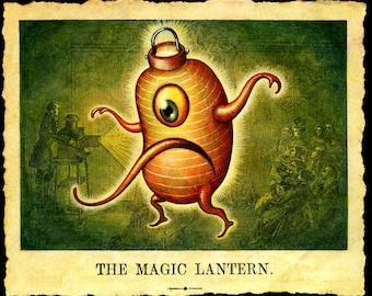 Halloween Magic Lantern monster art print: Chochin-obake art, Japanese creature, Jack-o-lantern yokai, Oddity curiosity, Asian mythology