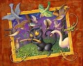 Fantasy music art print ~7x9, The Cat Plays the Flute: Black cat with magic flute, woodland birds & beasts. Nursery wall art, Children's art