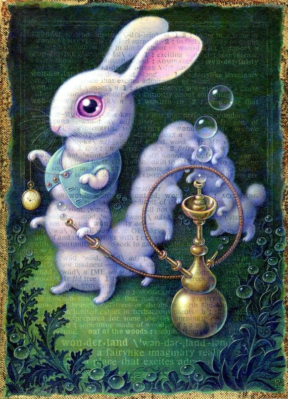 Conejo blanco lámina 7.5x10 conejo surrealista país de las