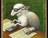 Accountant gift, Counting Sheep art print: Animal with hipster glasses, calculator, funny money, ledger paper. Chinese New Year, geek gift
