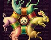 Colorful trippy art, Circus Circularity: Surreal animal art print, Pig, rabbit, goat, panda bear, Rainbow oddity curiosity, Kids' décor