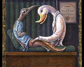 Dark humor bird art print, Quacksalver: Funny duck doctor with leech. Medical oddity, fantasy art, Get well gift, doctor, medical student