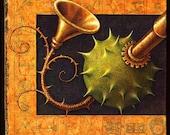 Surreal music art print, Goodly Trumpet-Vine: Weird monster arm, Thorny brass instrument creature, Fantasy painting, Odd steampunk robot