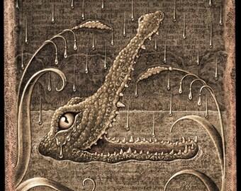 Crocodile tears sepia art print, Lachrymal (Tincture): Fantasy animal art, botanical details, optometry, water, odd nature art, Letter L
