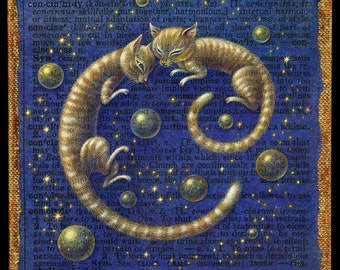 Sleepy cat art print, Concinnity: Cozy kitty twins, stars and planets. Celestial art, Alphabet letter C, Cat lover gift, A Word A Day