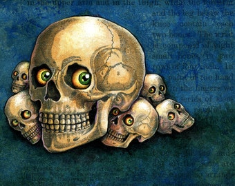 Halloween skull monster painting, Me-kurabe: Acrylic miniature, Skulls & eyeballs, Japanese yokai, Macabre art, Oddity curiosity cabinet