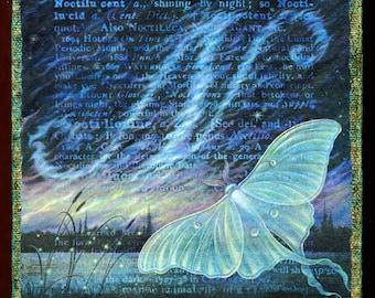 Night sky art print, Noctilucent: A delicate luna moth and dreamy clouds create a magical dark landscape. Fantasy art, surreal oddities