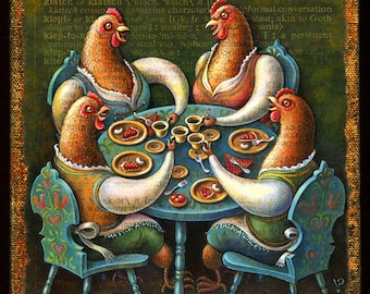 Year of the Chicken art print, Klatsch: Hen party with coffee & sweets. Friendship print, funny kitchen art, coffee lover gift, letter K.