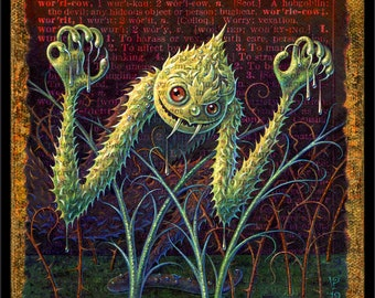 Strange monster art print, Worricow: a prickly green creature emerges from the swamp! Scary art, creepy letter W, Halloween decor, oddity