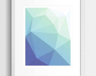 Ocean Abstract Art, Geometric Art Print, Abstract Ocean, Ocean Art, Abstract Art Print, Modern Art Print, Modern Abstract, Blue And Green