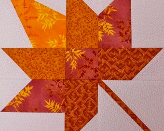 """Paper Piece Foundations - Stable Piecing - Gum Leaf 12"""" Squares - Package of 12 and Pattern"""