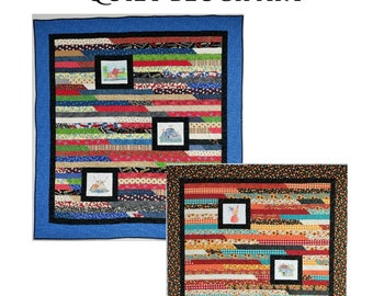 Quilt Pattern - Strippin' With Quilt Block Art - Hollister Lady Quilts - Jelly Roll Friendly - Two Sizes Included